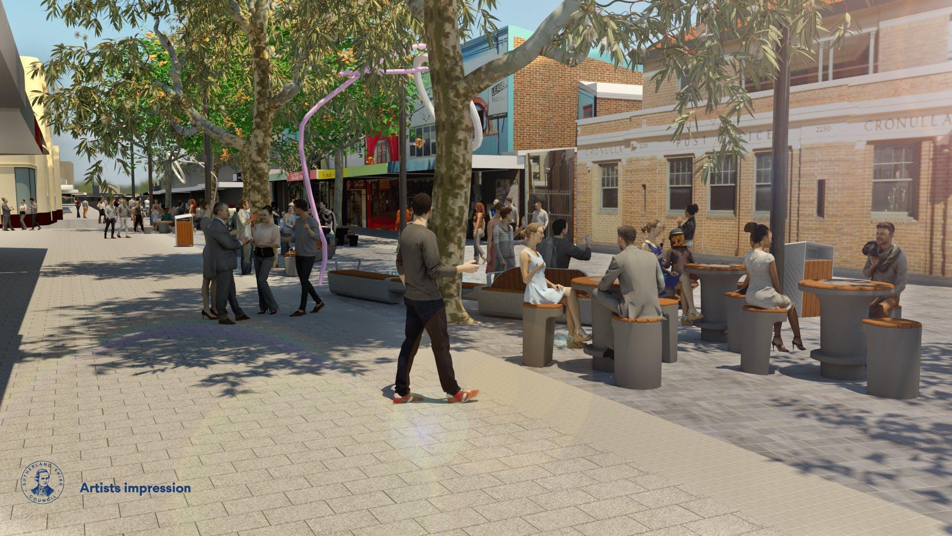 View of Cronulla Plaza towards Post Office