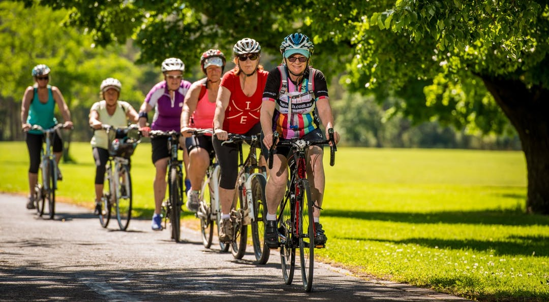 Women riding along shared paths