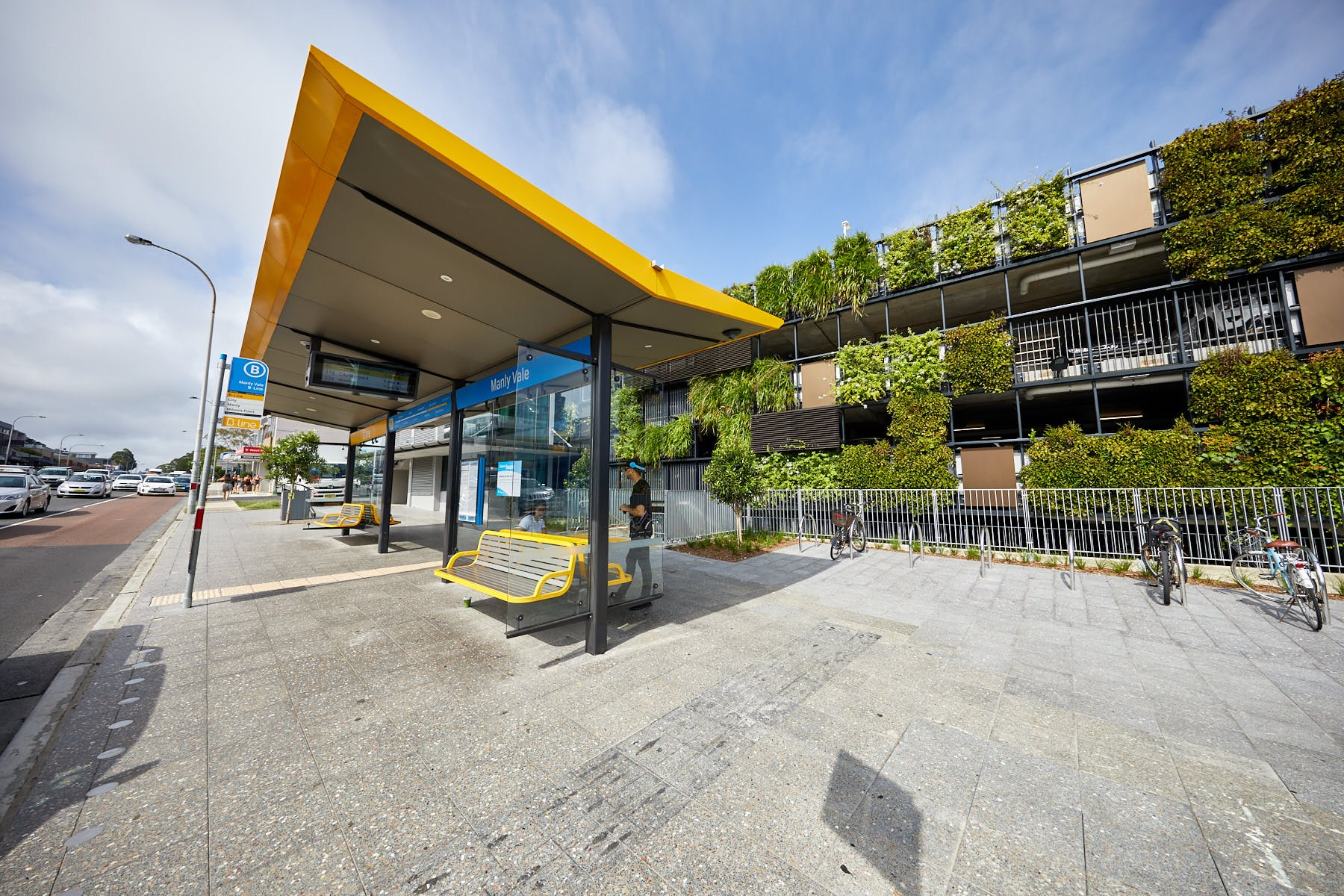 Citybound B-Line bus stop Manly Vale