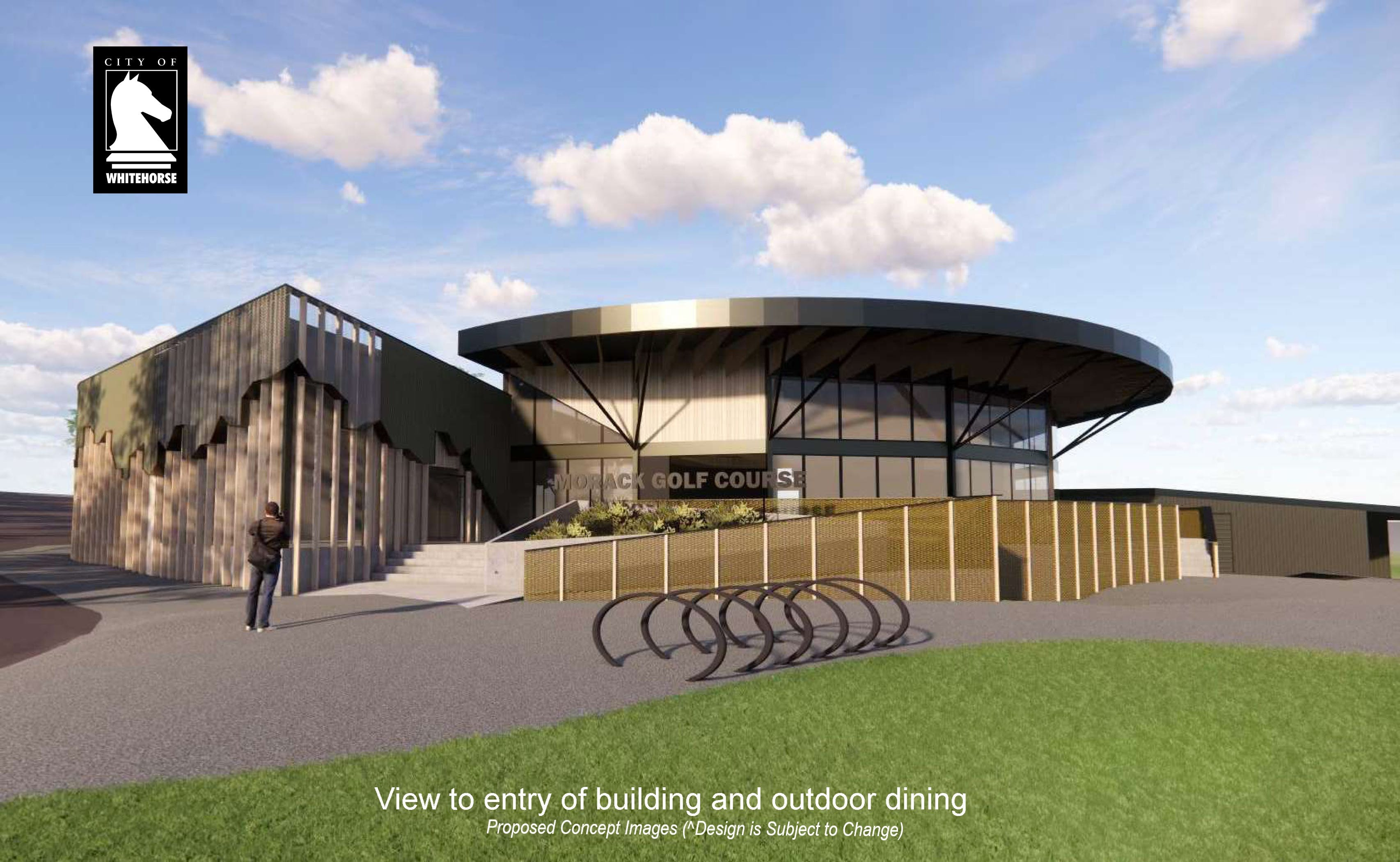 Proposed view to entry of building and outdoor dining