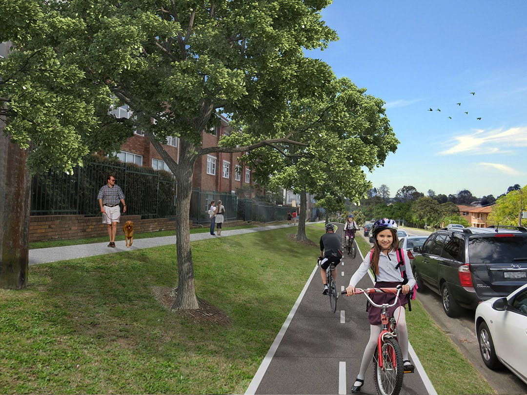 Artist Impression of Active Transport Link on President Avenue