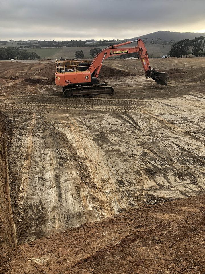 28 tonne excavator at work on the Aussie rules cricket building