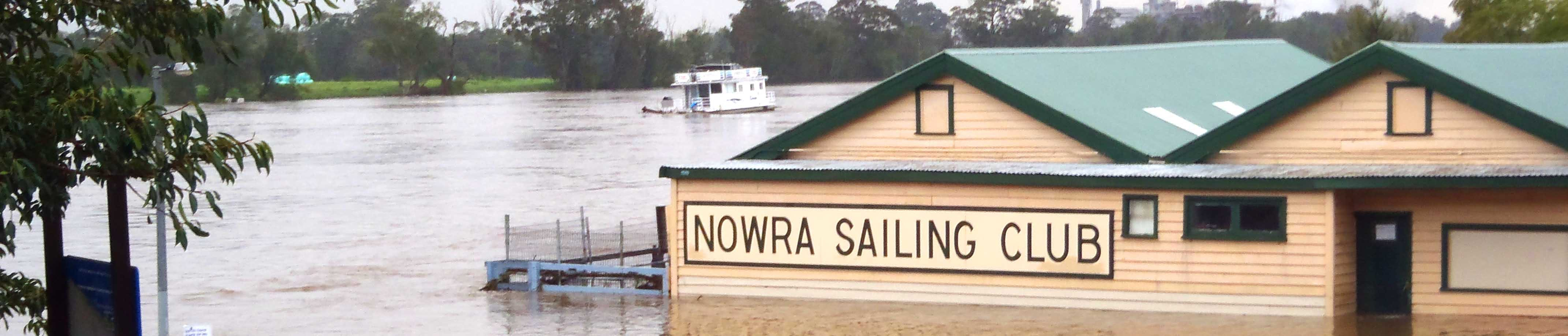 Photo of Nowra Sailing Club under water due to flooding in the Lower Shoalhaven