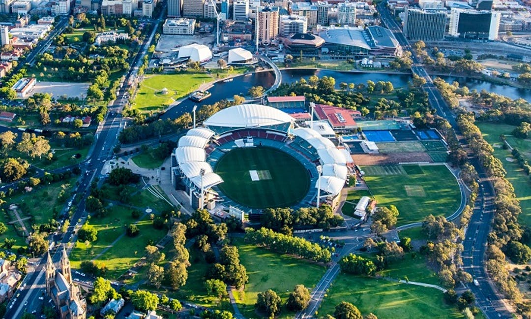 Ariel view of the Adelaide Oval Precinct. In the centre is the Adelaide Oval Stadium. To the right of the stadium looking south is Oval 2.