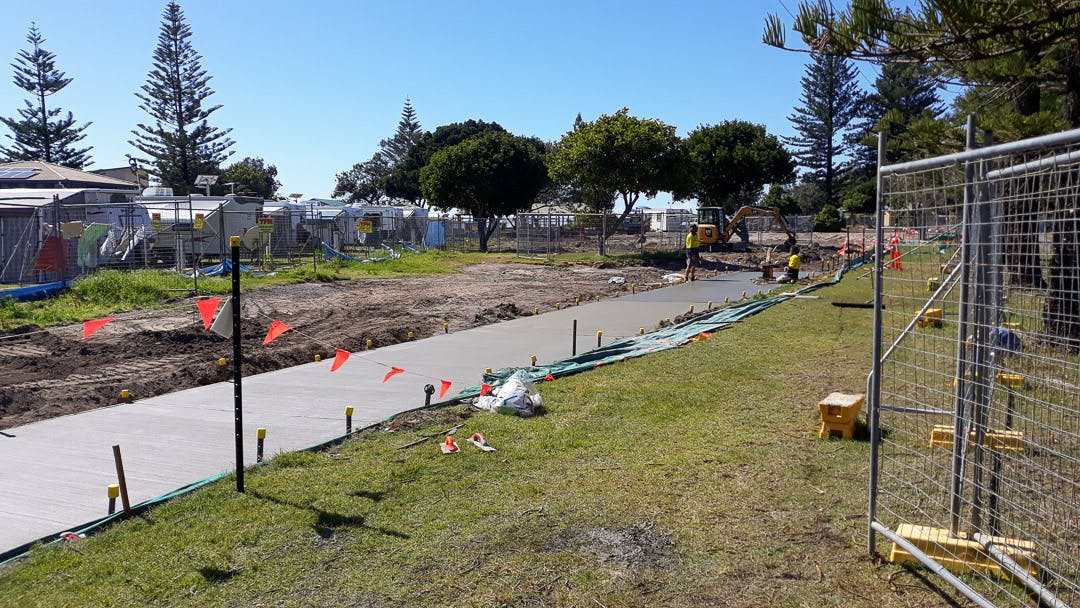 Construction of a new shared footpath/cycleway, August 26.