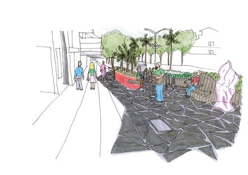 Artist impression Grey Street and Fitzroy Street intersection upgrade