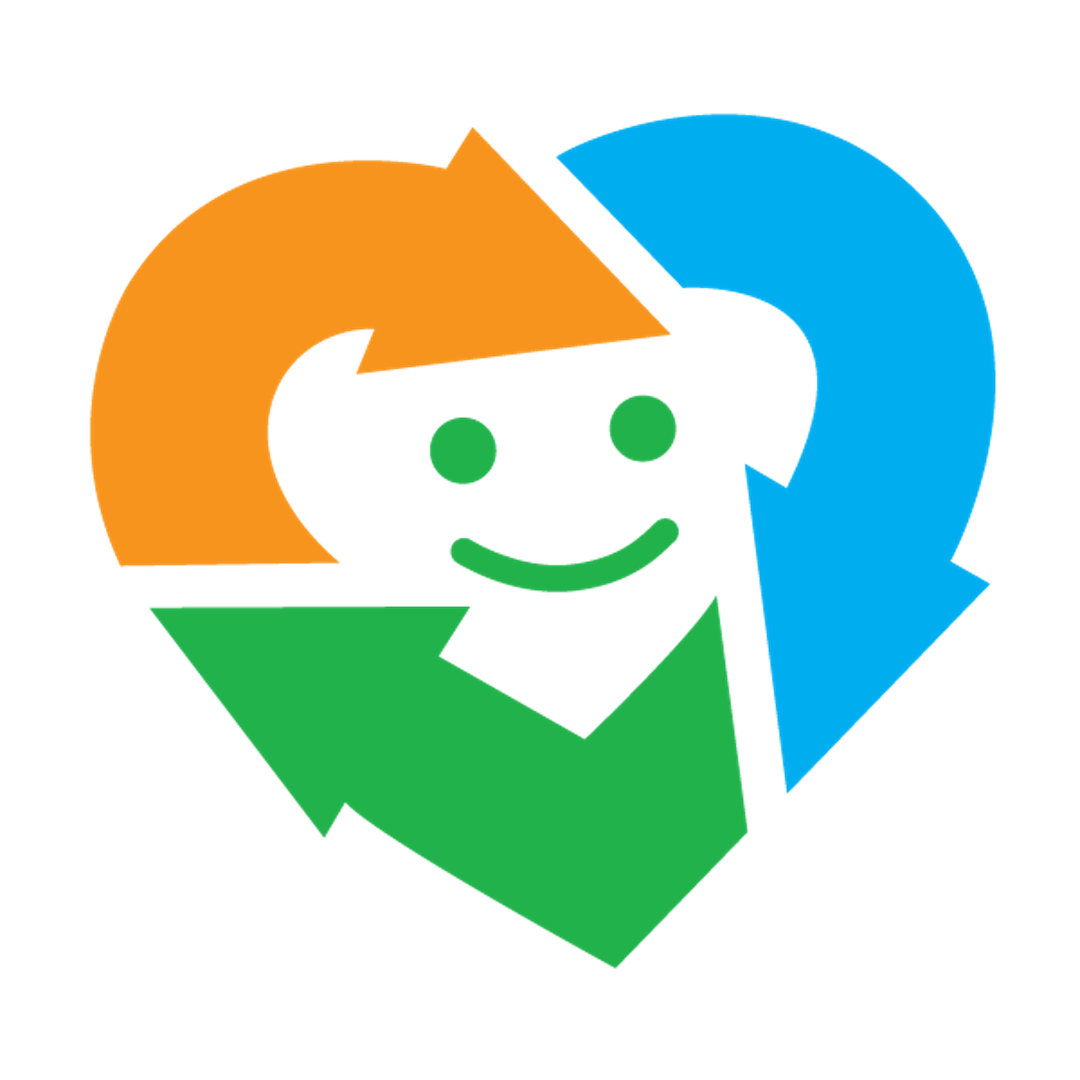 Three arrows (blue, green and orange) and shaped as a heart.