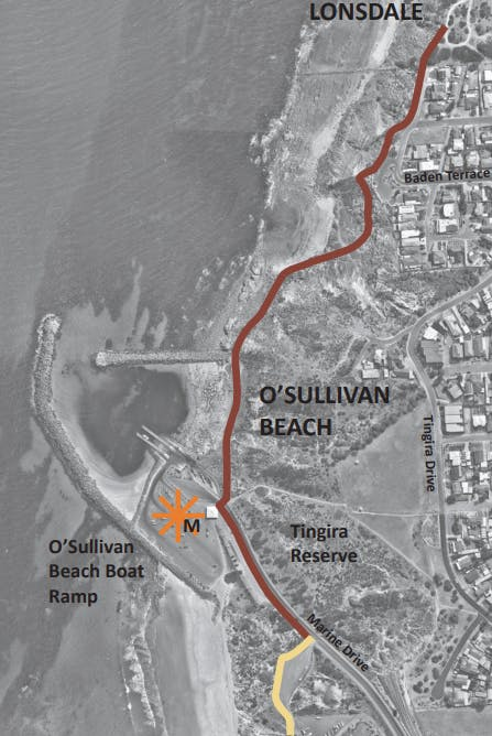 Map Of O Sullivan Beach Section