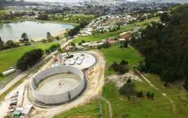 An artist's impression of the two new enclosed storage tanks