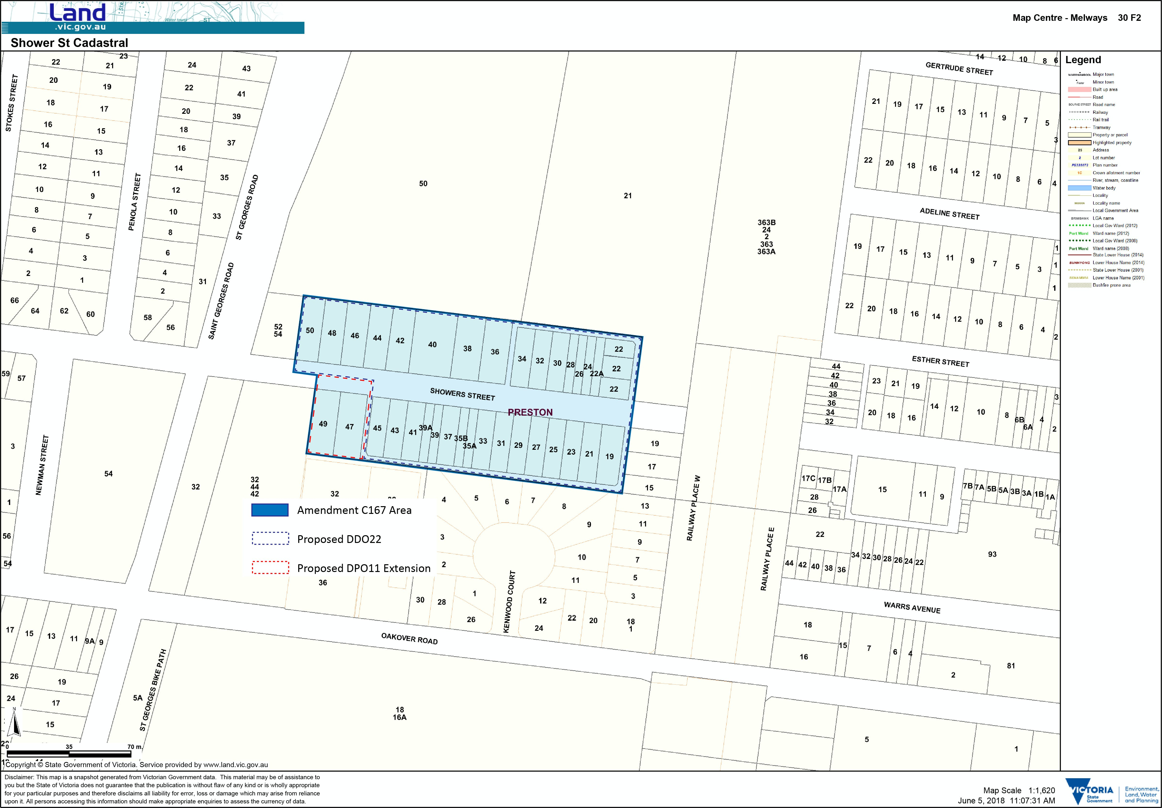 Showers Street C167 Amendment Area Map