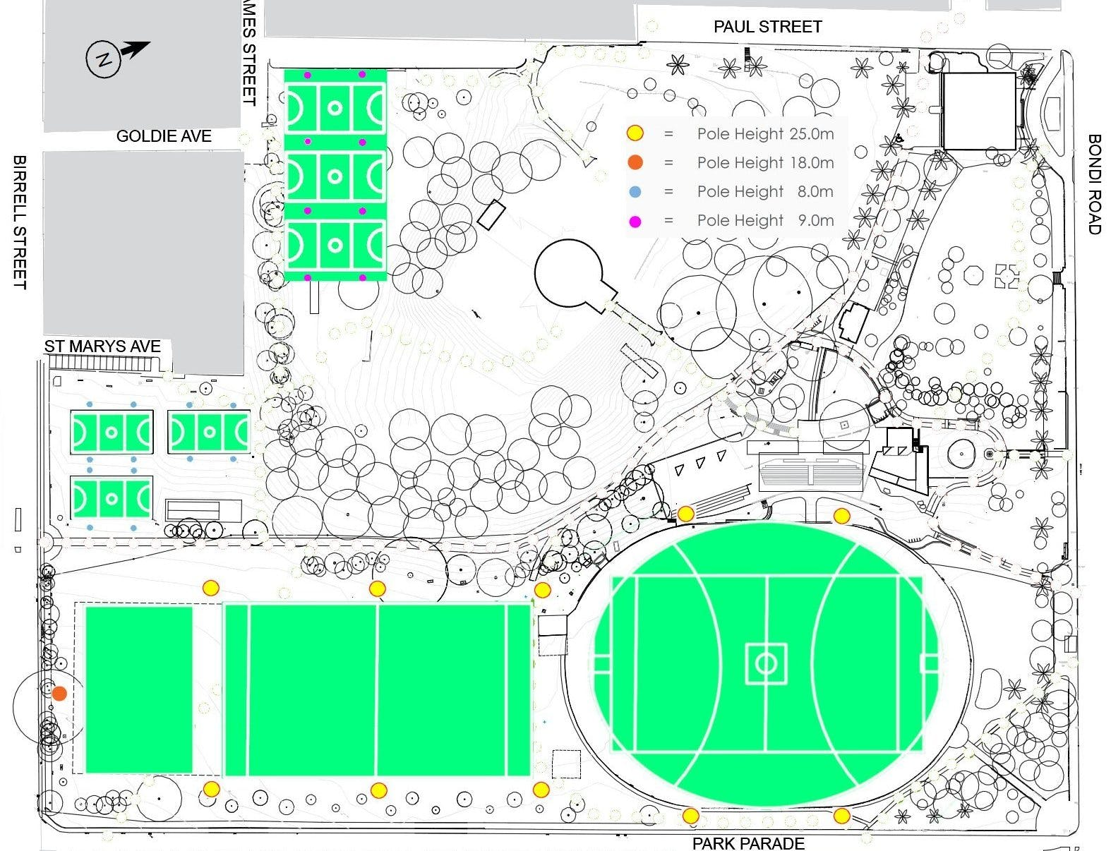 Proposed sports lighting plan for Waverley Park.