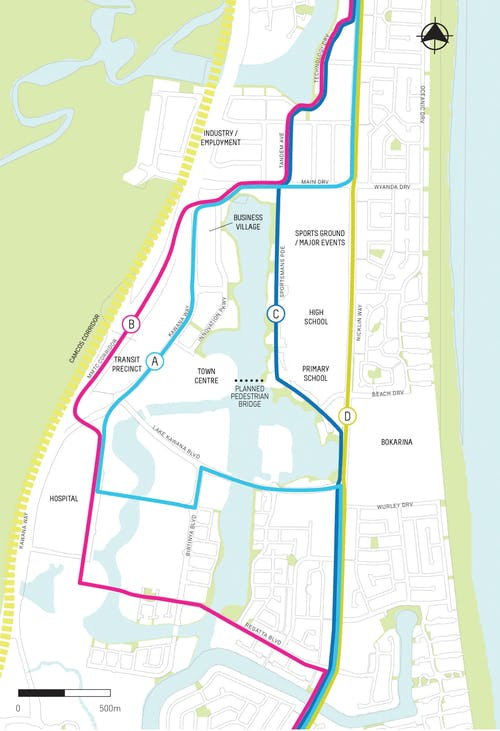 Kawana route options map