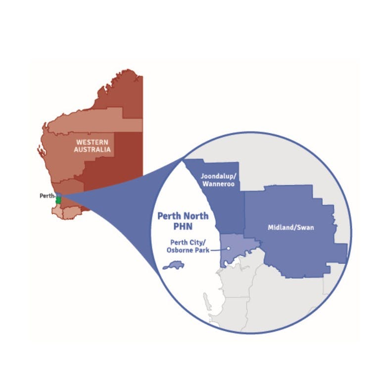A map showing WA with a pop out of the Perth North PHN region comprising of Perth City/Osborne Park, Joondalup/Wanneroo and Midland/Swan.