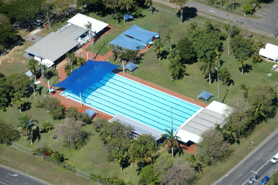An aerial shot of the Pioneer Swim Centre