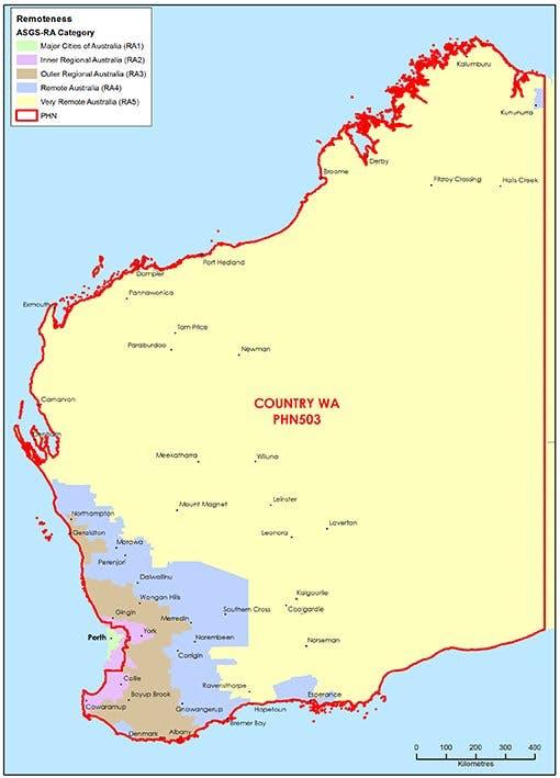 Remoteness map of Western Australia