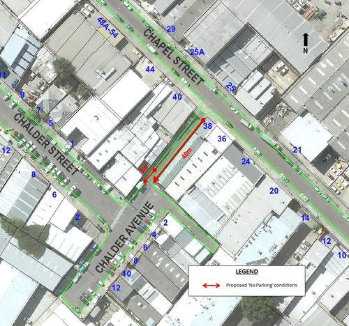 Map - No Parking proposal in Chalder Avenue, Marrickville