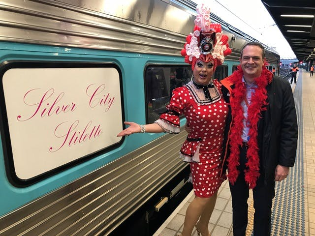 Maude Boate and Pete Allaway (NSW Trains) farewell the Silver City Stiletto