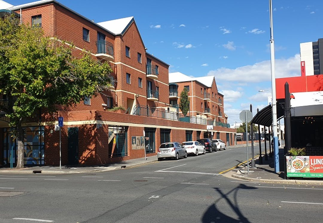 View of intersection of Gray Street and Hindley Street looking South from northern end of Gray Street.
