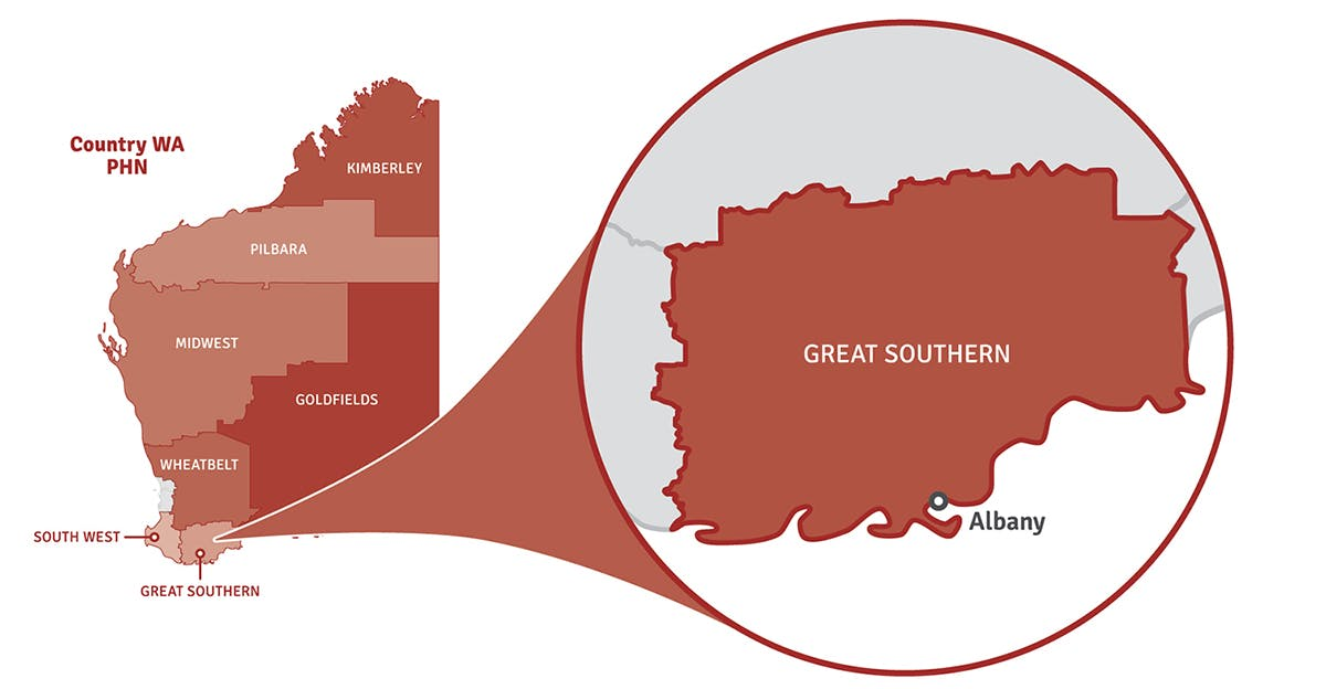 Map of Western Australia showing location of Great Southern region in a pop out circle.
