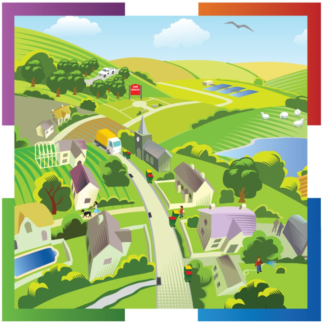 Stylised image of Council services supporting home life.