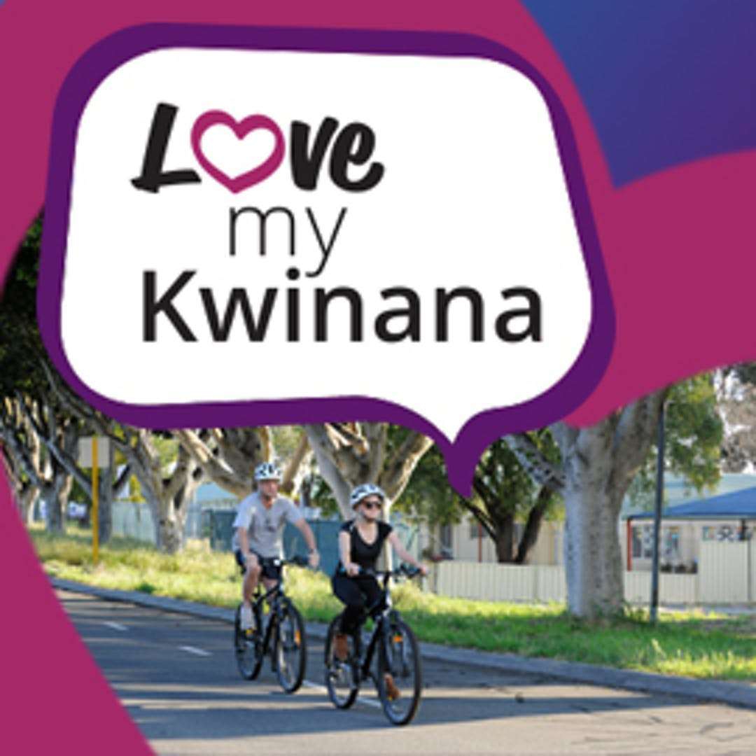Two people riding bikes in Kwinana with chat bubble 'Love my Kwinana'