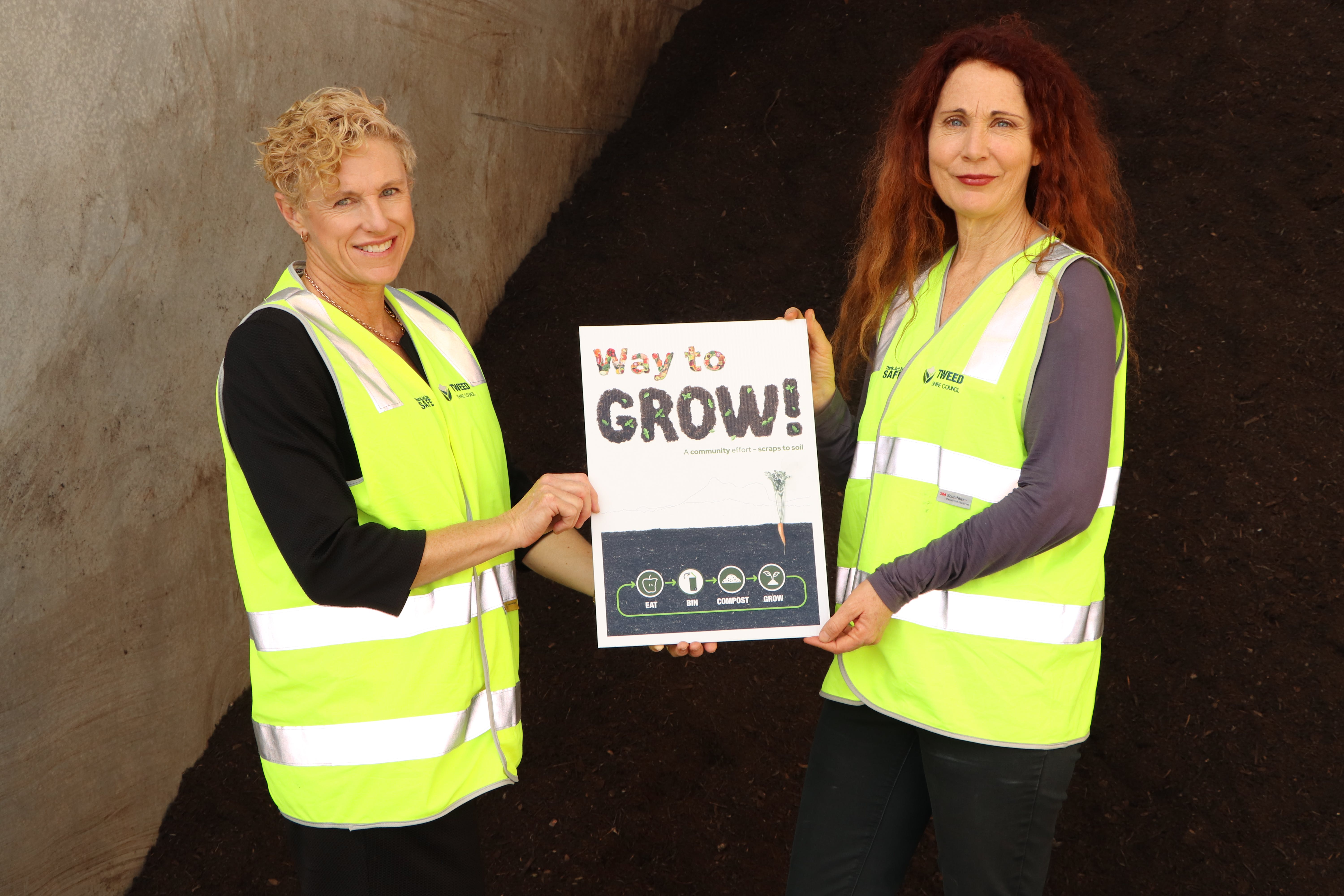 Tweed Mayor Chris Cherry and Director of Sustainable Communities and Environment Tracey Stinson with the new 'Way to Grow' design for the bags of soil that will be available