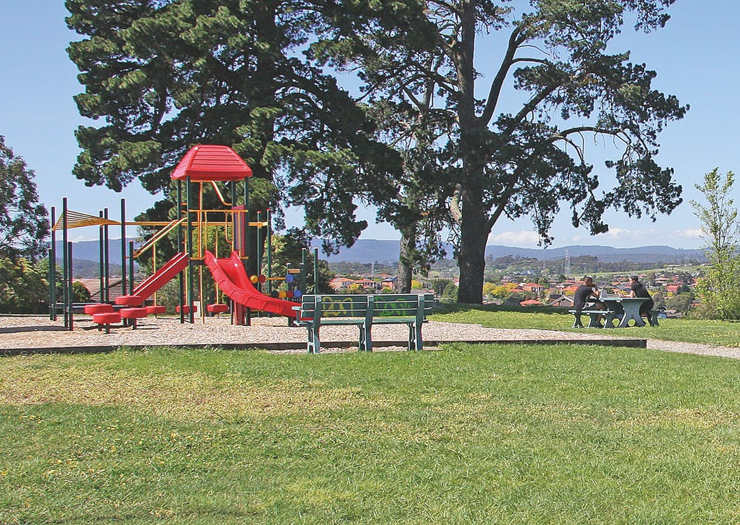 Park with play equipment in it, people at picnic table and seating, grassy area in foreground tall conifers behind play equipment.