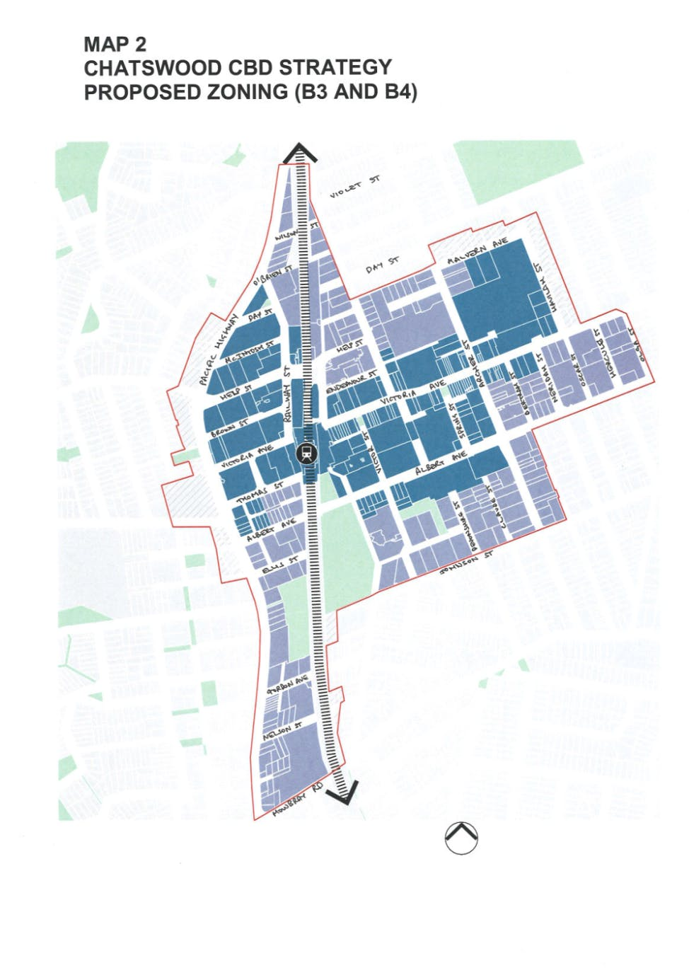 Chatswood CBD Strategy Proposed Zoning (B3 and B4)