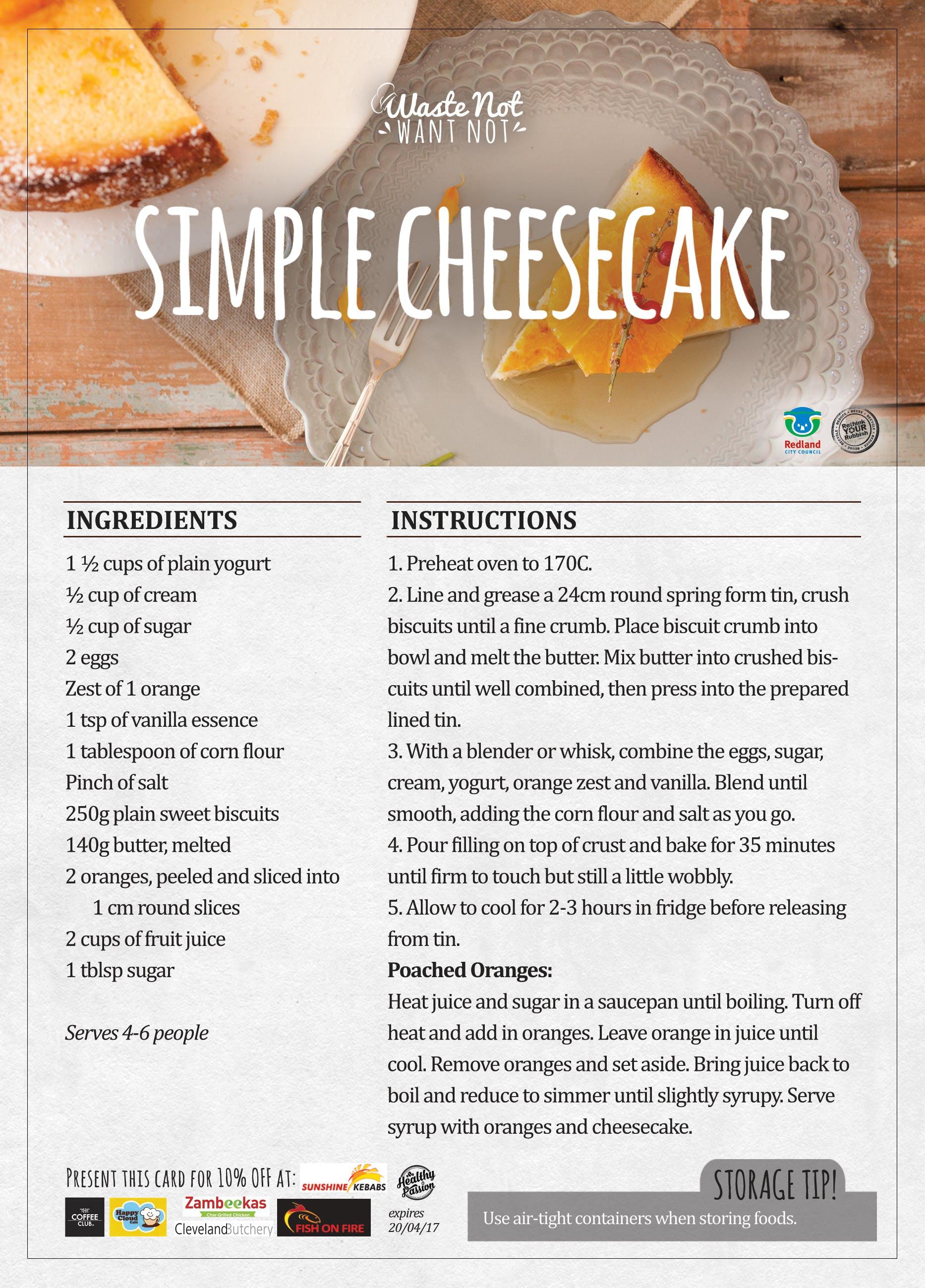 Simple cheesecake recipe card