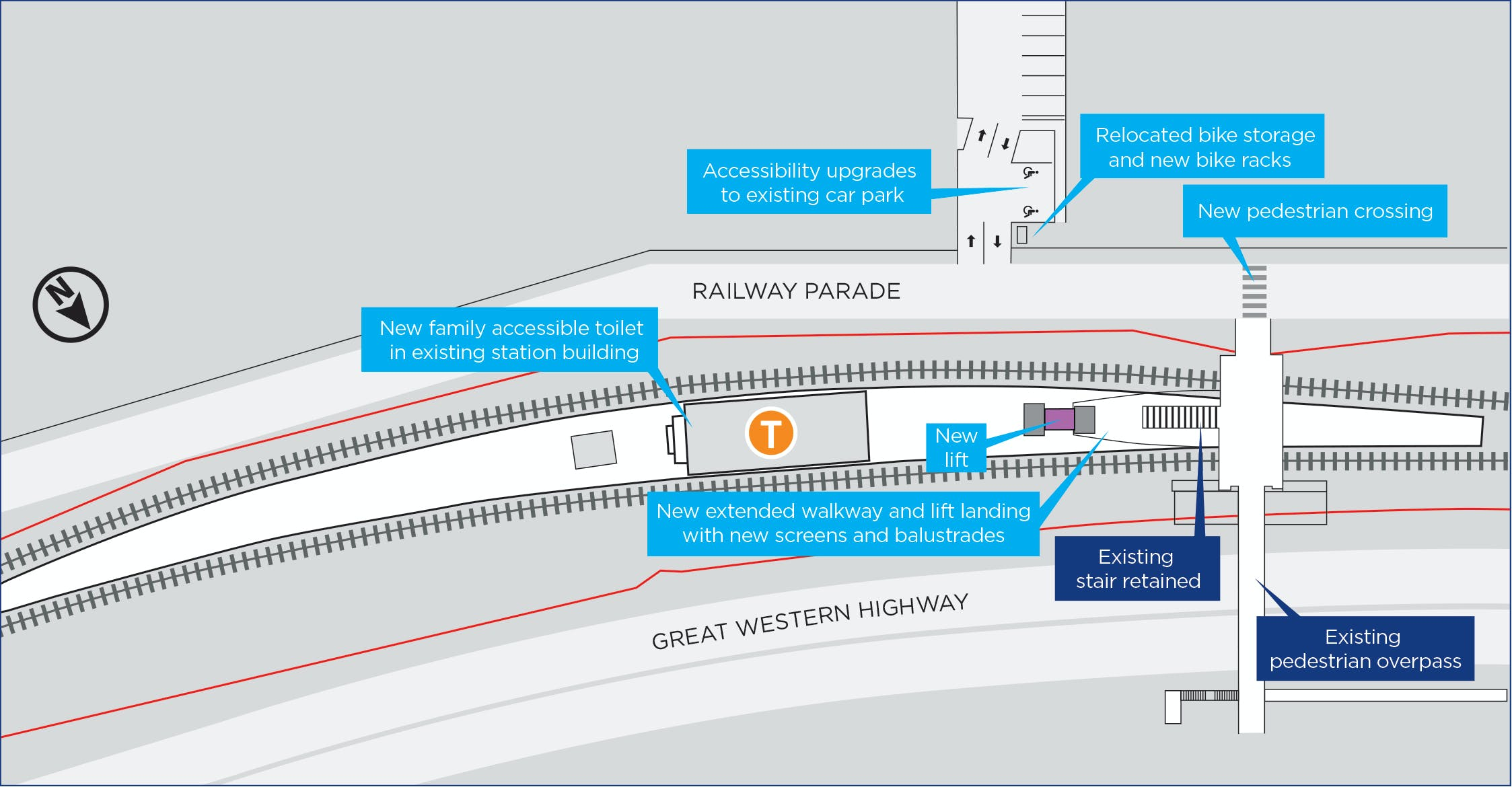 Proposed Hazelbrook Station upgrade, subject to change during detailed design.