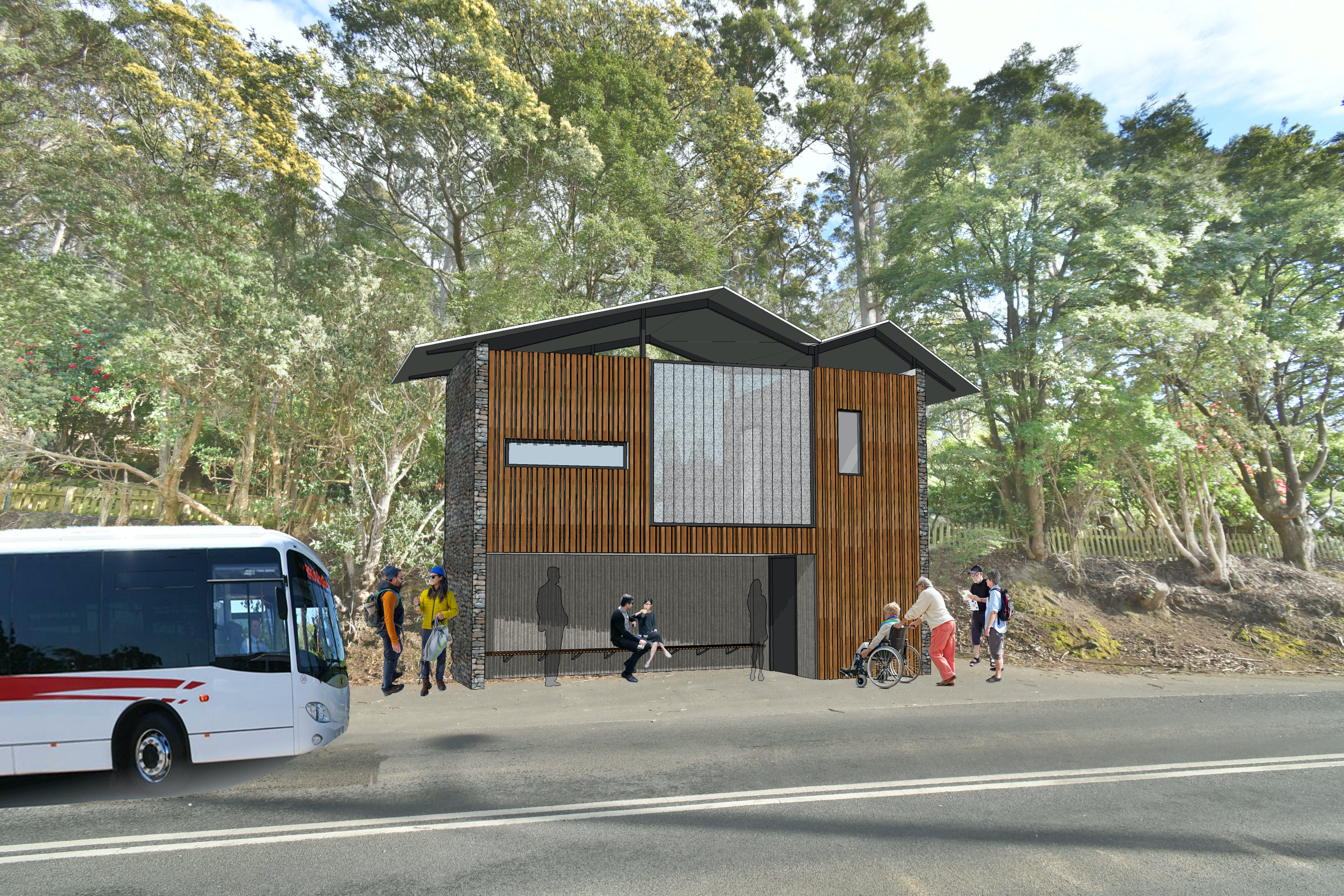 Fern Tree Toilet   Bus Shelter Colour 2019 Red Line