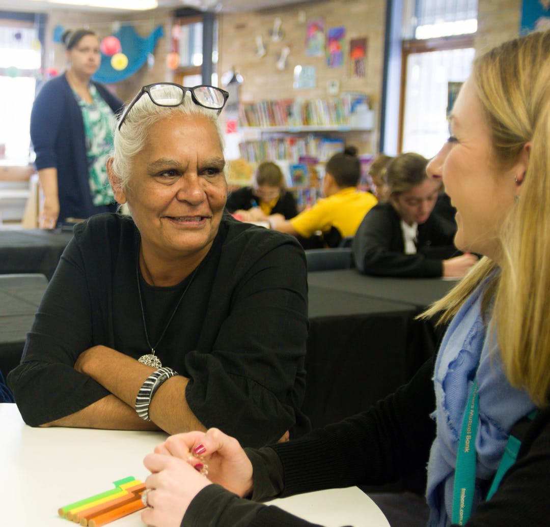 Cover of the Cumberland Council Reconciliation Action Plan. Talking with Local Aboriginal Elder, Aunty Cleonie Quayle.