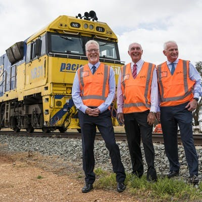 Inland Rail CEO Richard Wankmuller, ARTC Chairman Warren Truss, ARTC Managing Director and CEO John Fullerton