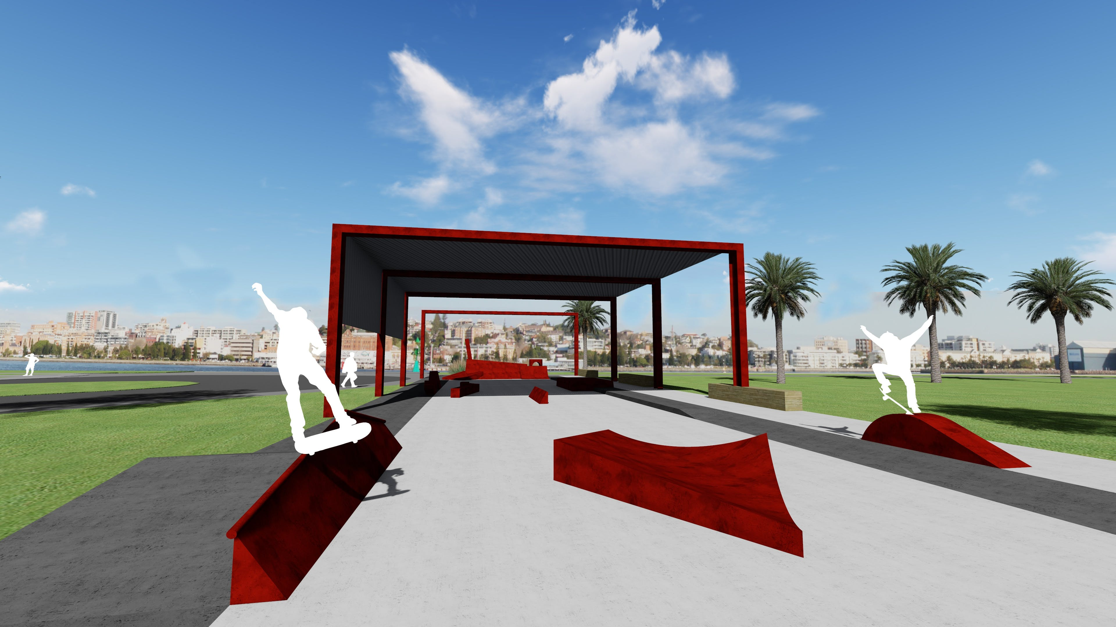 This image shows the proposed skate park section of Stockton South.