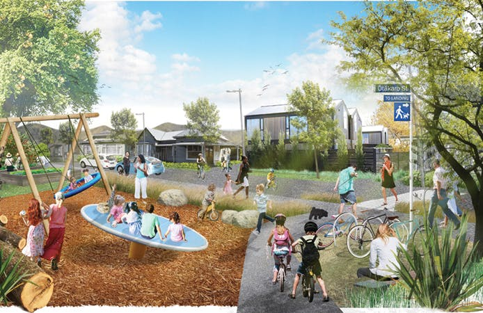Example of a connected edge where houses face the Ōtākaro Avon River Corridor and there are places for the community to enjoy.