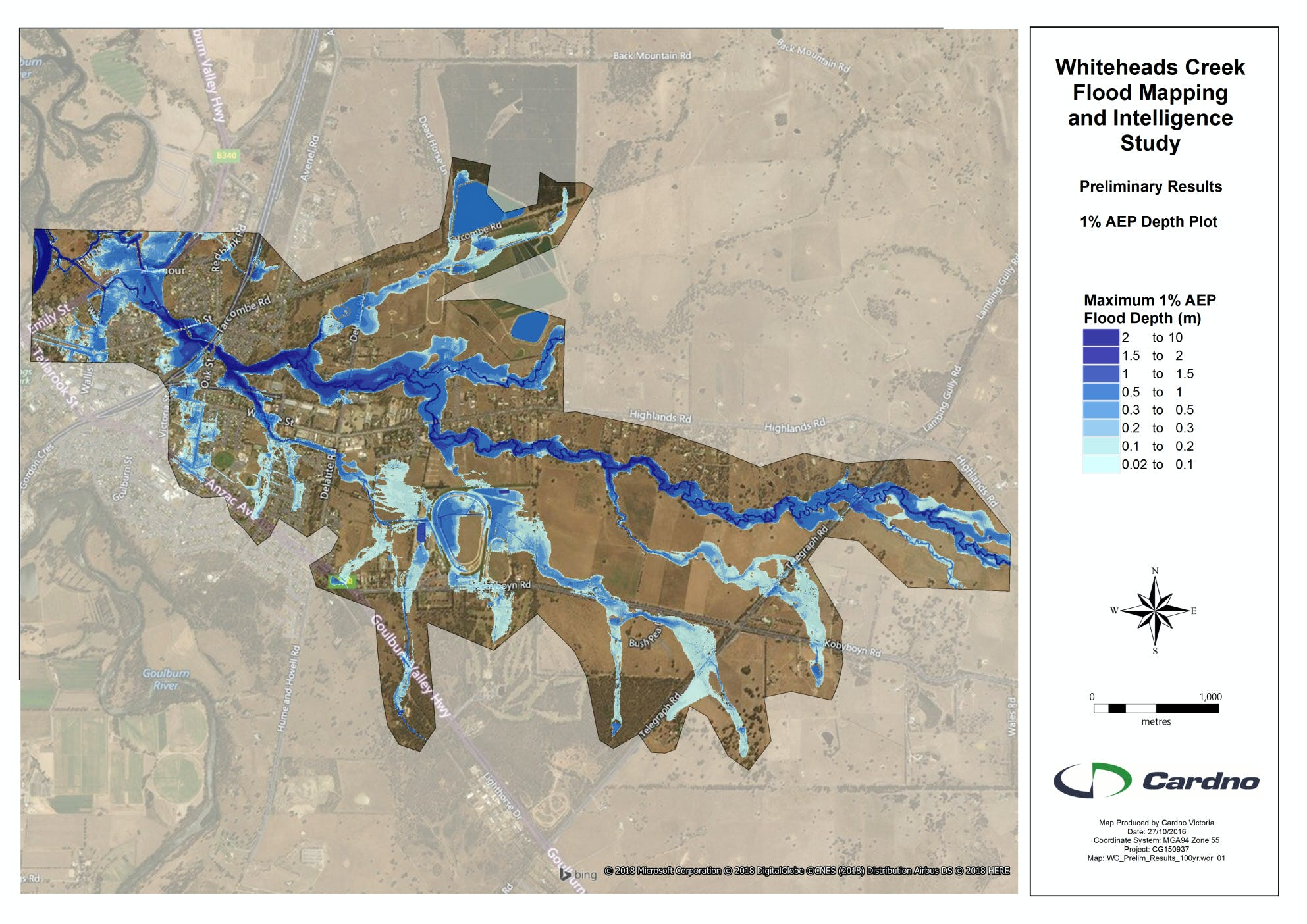 Lower Whiteheads Creek flood study area