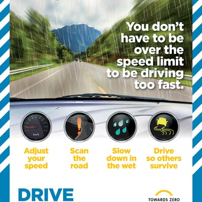 You don't have to be over the speed limit to be driving too fast