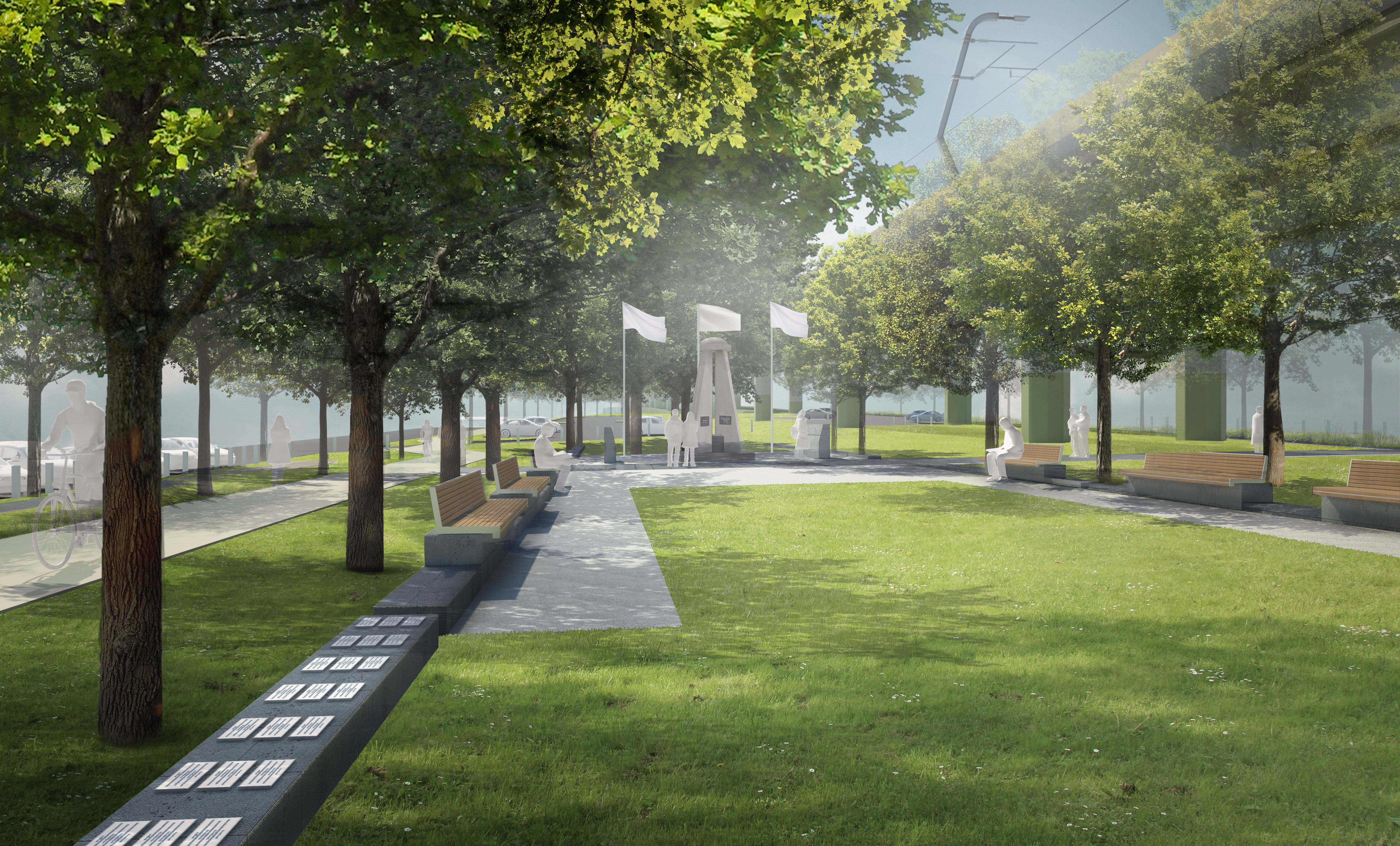 Artist impression - Centre Road (RSL memorial and ceremonial space), year 20