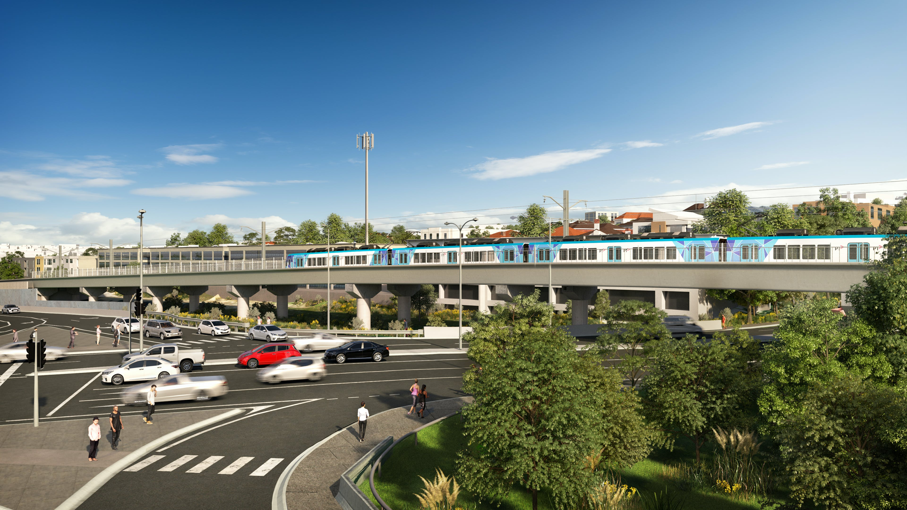 Artist's impression of the new rail bridge over Toorak Road in Kooyong