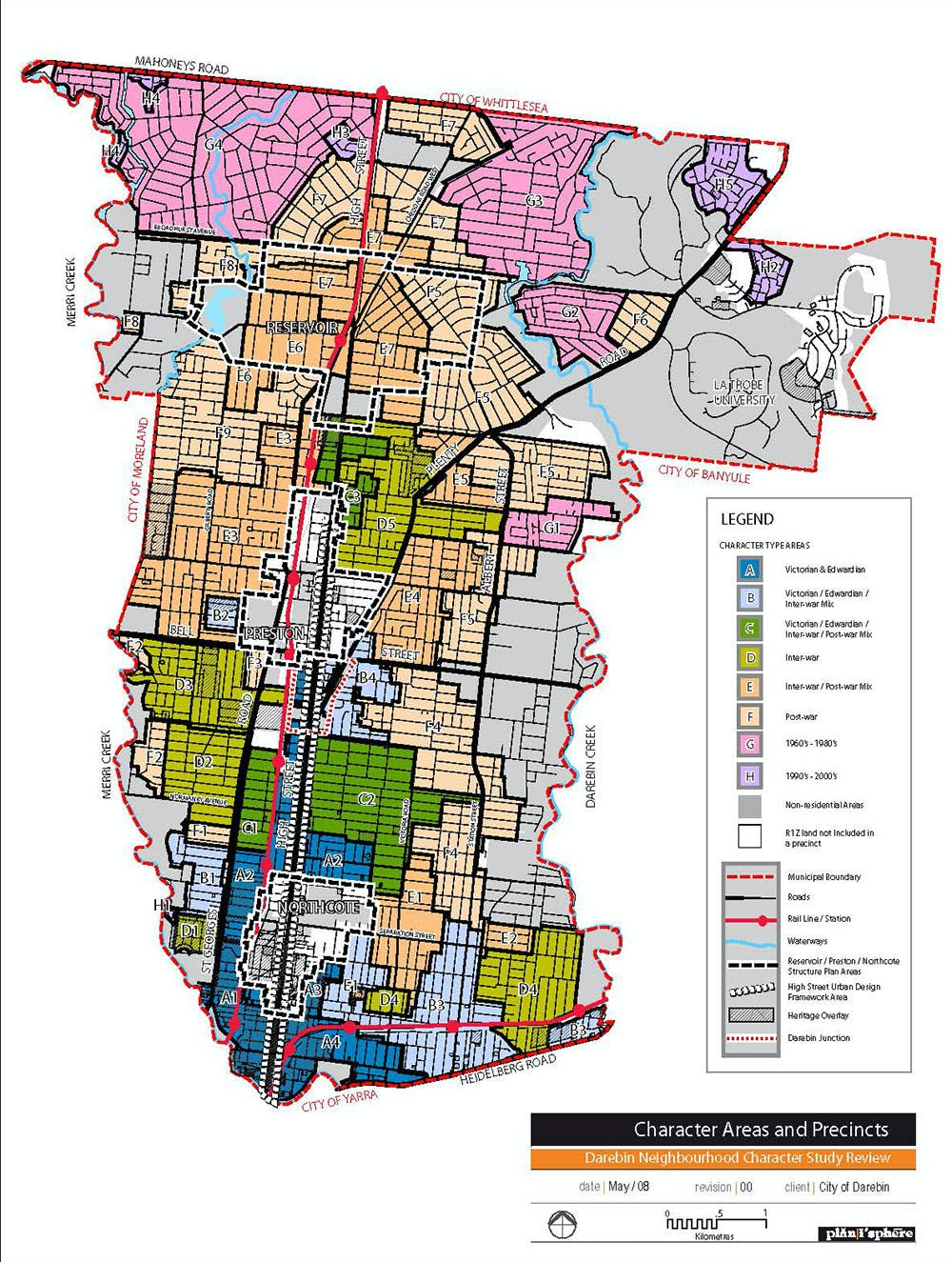 Neighbourhood Character Study 2007   Areas And Precincts Municipal Map