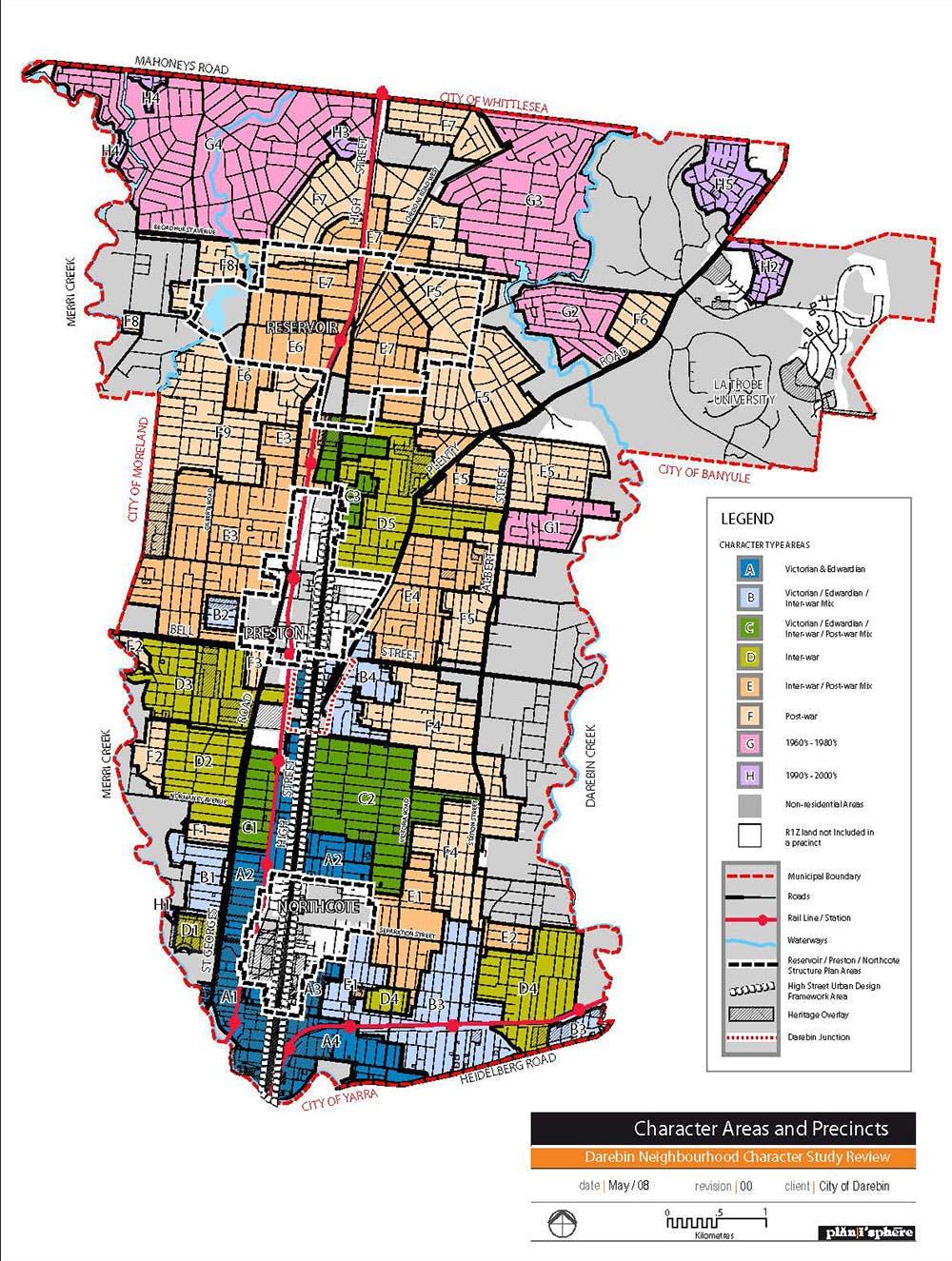 Neighbourhood Character Study 2007   Areas And Precincts Municipal Map