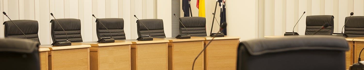 Council chamber chairs and microphones