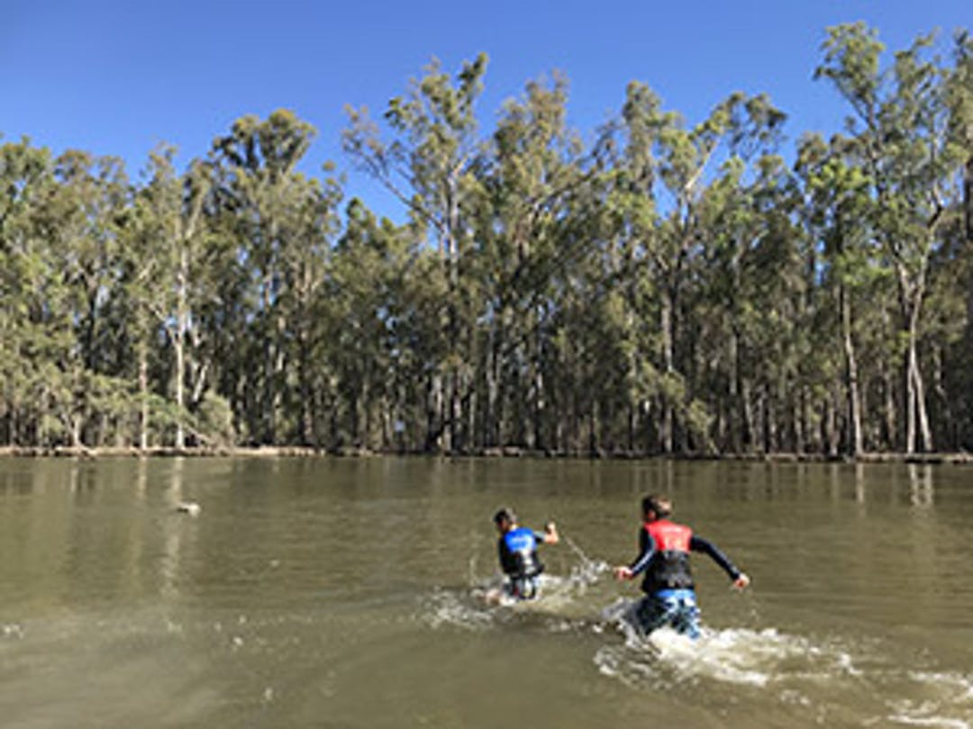 children playing in the Murray River at Barmah Choke