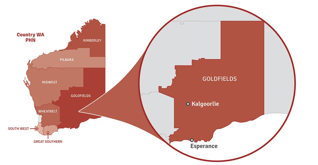 Map of Western Australia showing location of Goldfields region in a pop out circle.