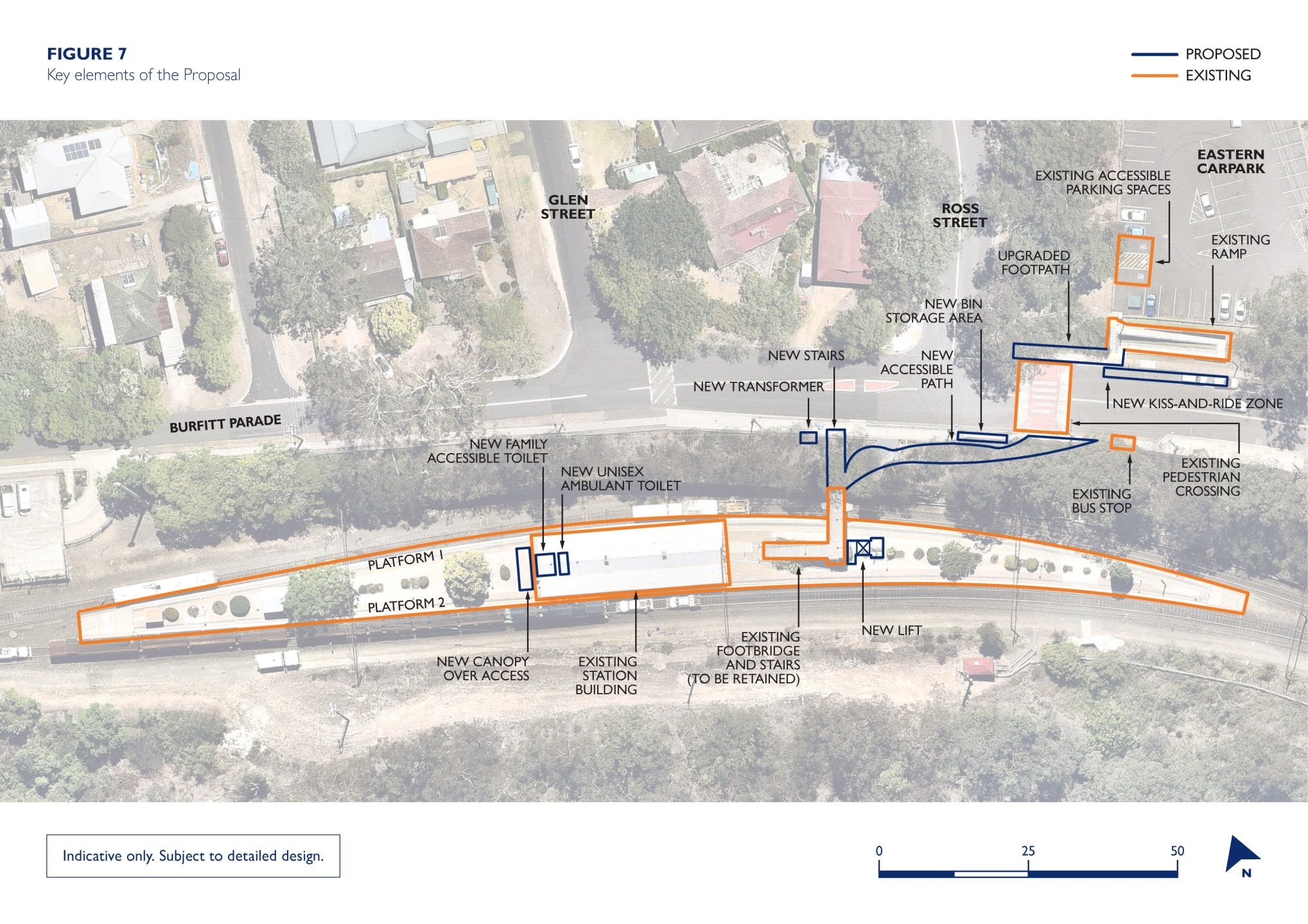 Key features map of the Glenbrook Station Upgrade - subject to detailed design
