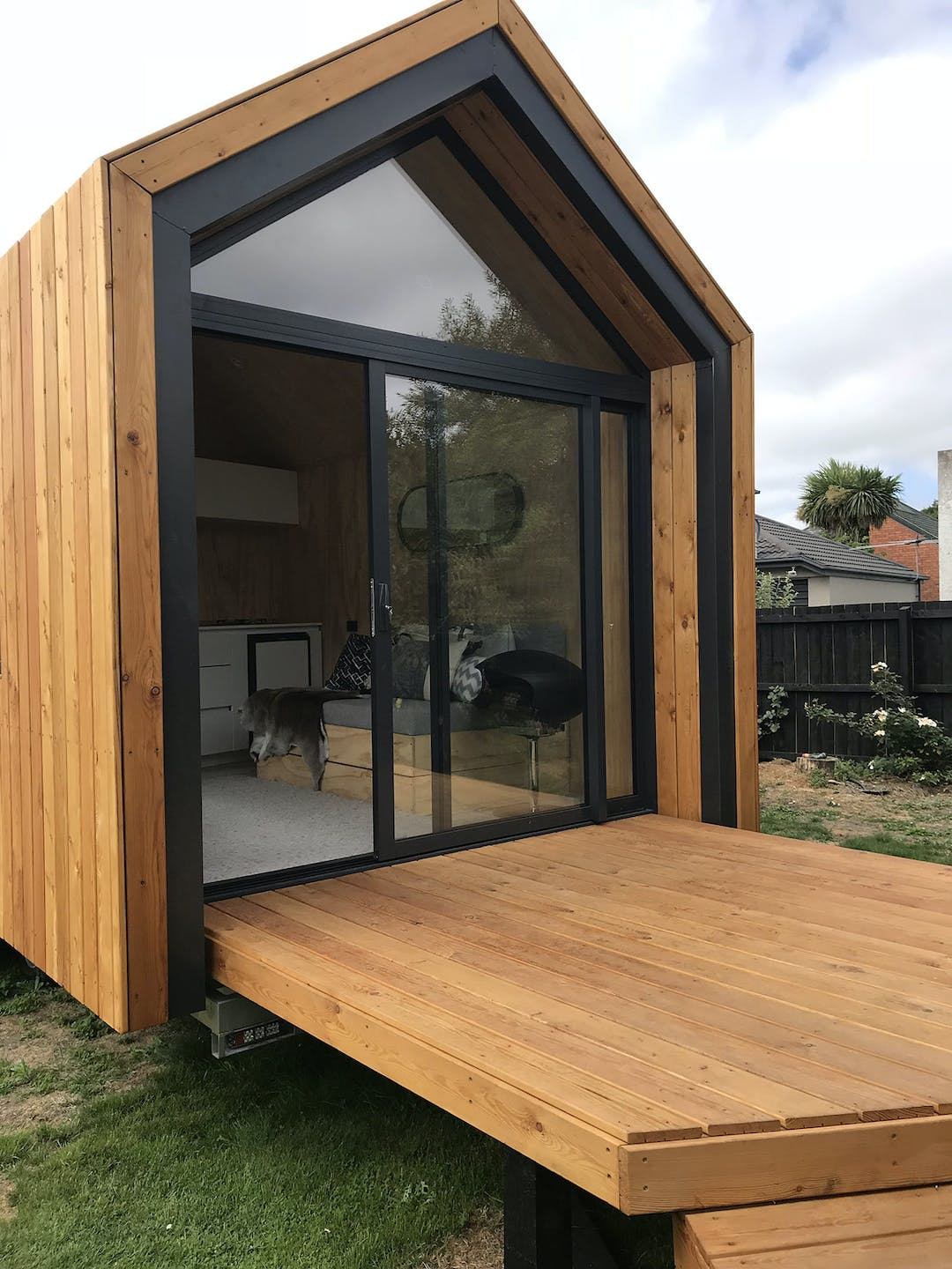 This image shows a tiny house, popularly considered an innovative and sustainable option for future residential accommodation globally.