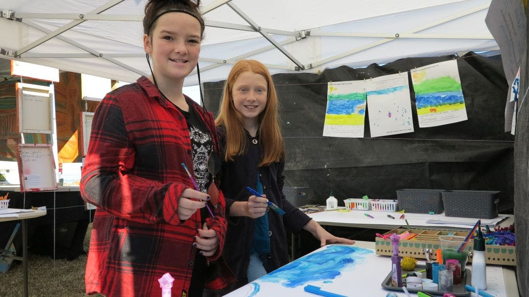 Ruby and Emily get creative and paint the future Lake Mac