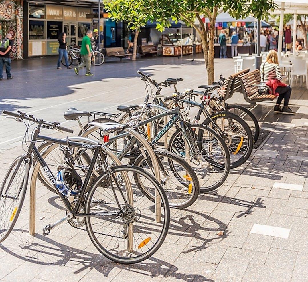 Bikes parked on Oxford Street