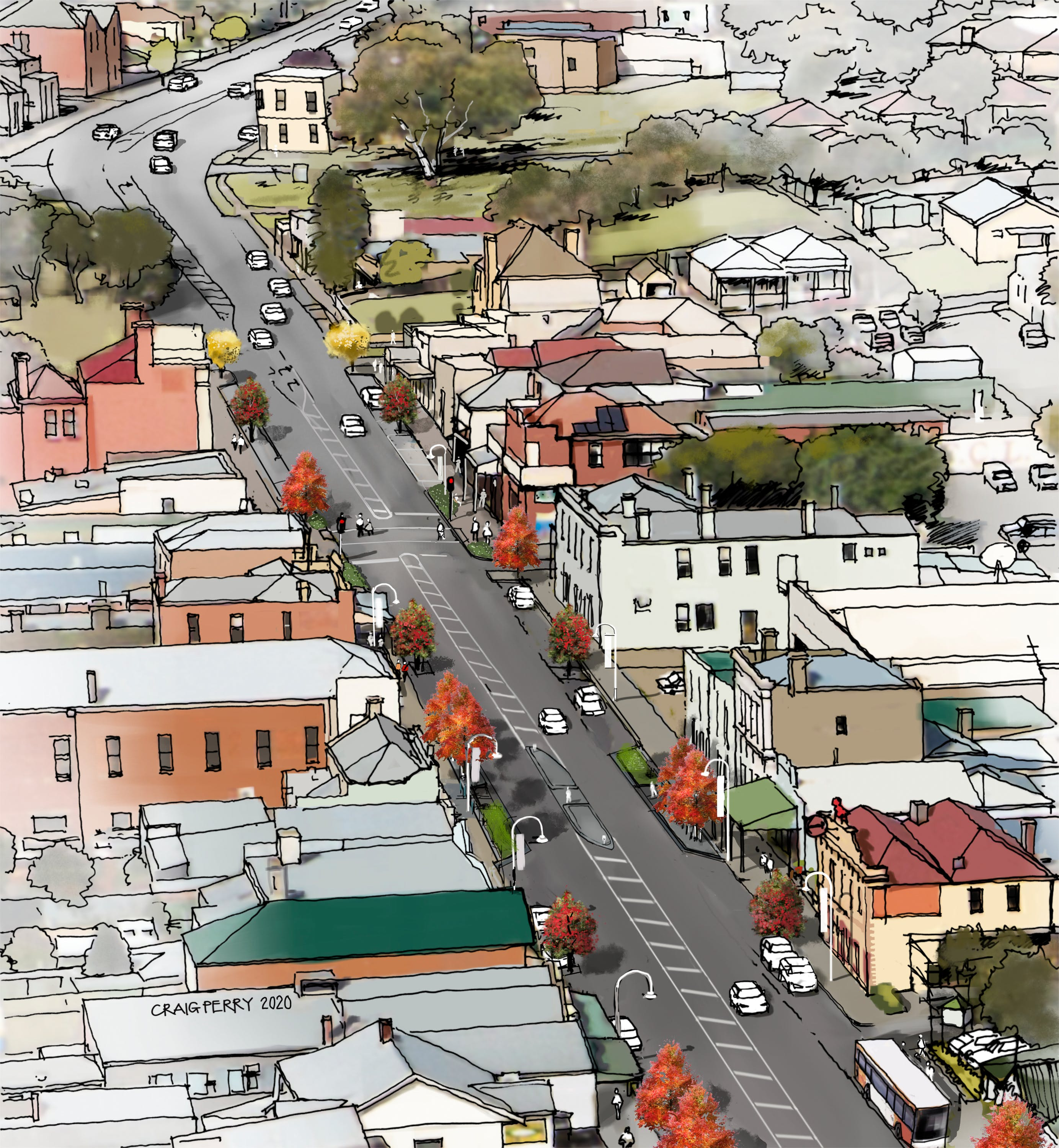 Aerial view of Sydney Street looking south with street trees and pedestrian refuges shown