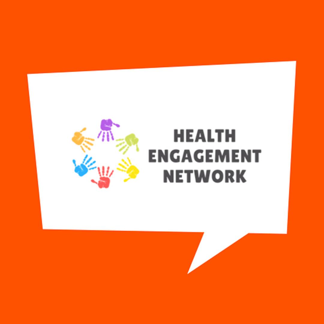 Health Engagement Network logo inside white speech bubble on orange background